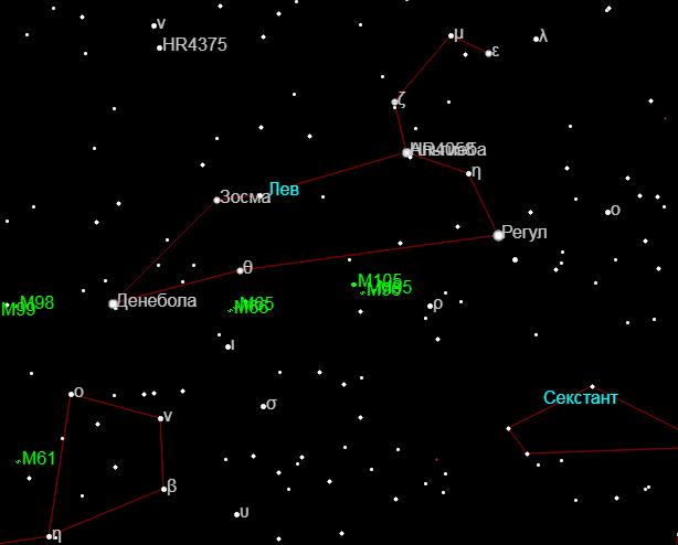 Самые яркие звёзды и объекты созвездия Лев